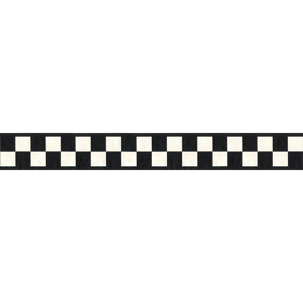The Wallpaper Company 2.5 In. H Black and White Country Check Border