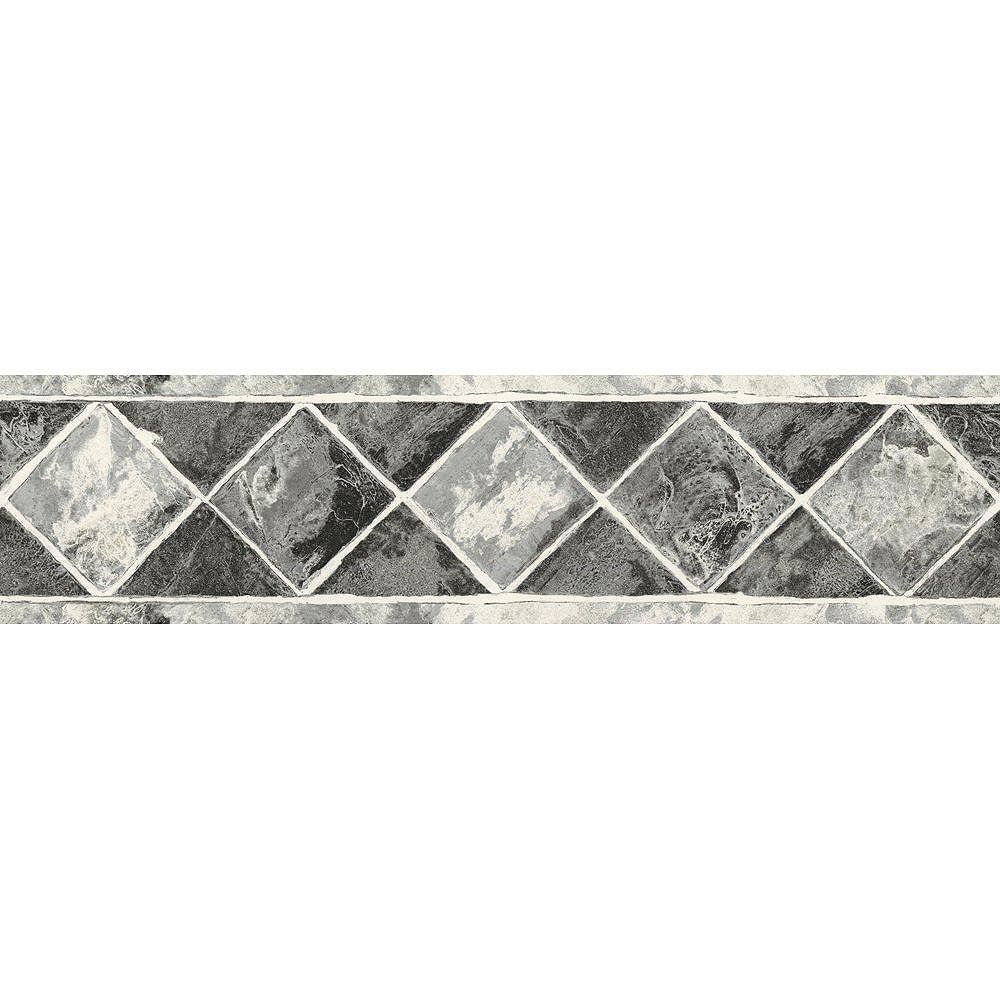 The Wallpaper Company 6.75 In. H Black and Silver Contemporary Tile Border