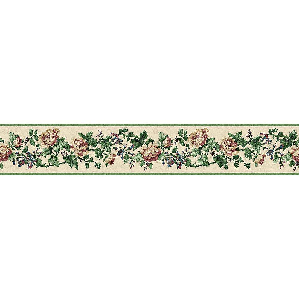 The Wallpaper Company 4.13 In. H Green Jewel Tone Floral Document Border