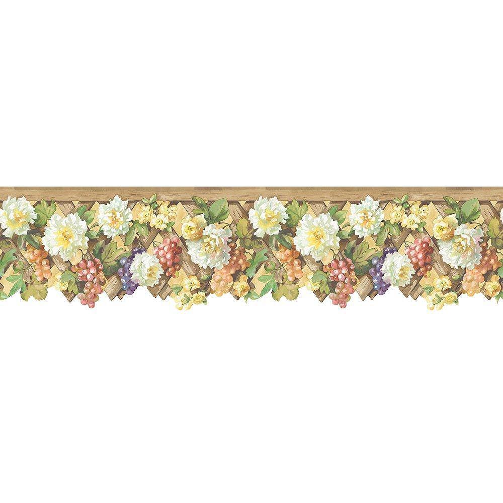 The Wallpaper Company 5 In. H Earth Tone Floral Lattice Border