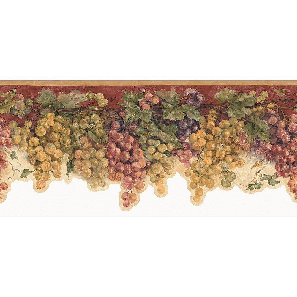 The Wallpaper Company 8 In. H Red Mid-Tone Grape Watercolor Border