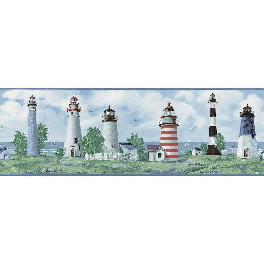 The Wallpaper Company 9 In. H Blue Lighthouse Border
