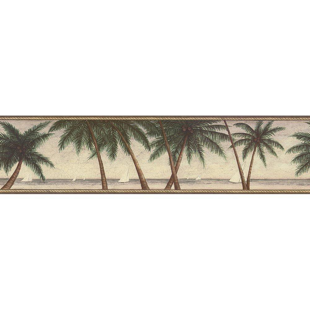 The Wallpaper Company 6.3 In. H Green Palm Tree Border