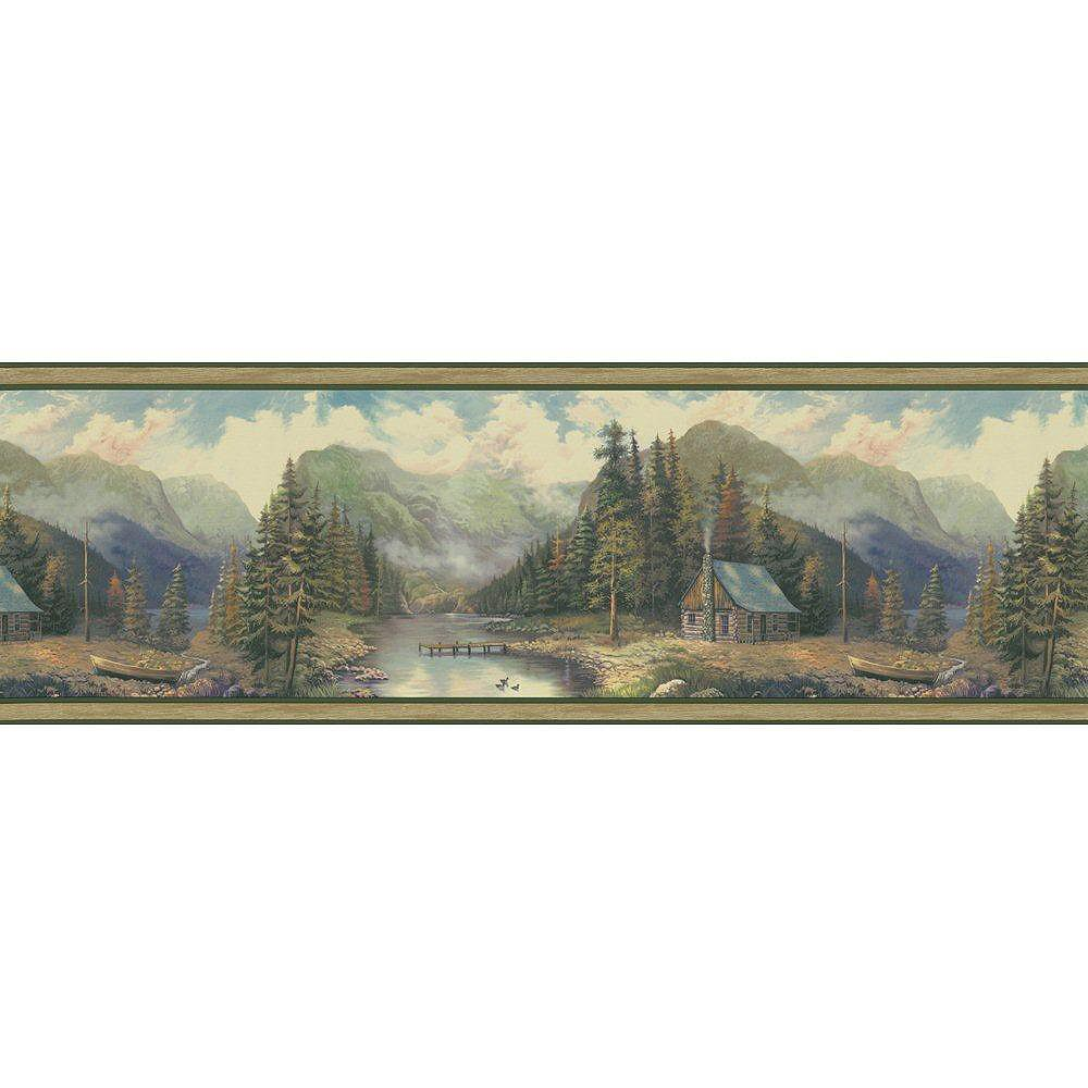 The Wallpaper Company 9 In. H Green Forest Lodge Scenic Border