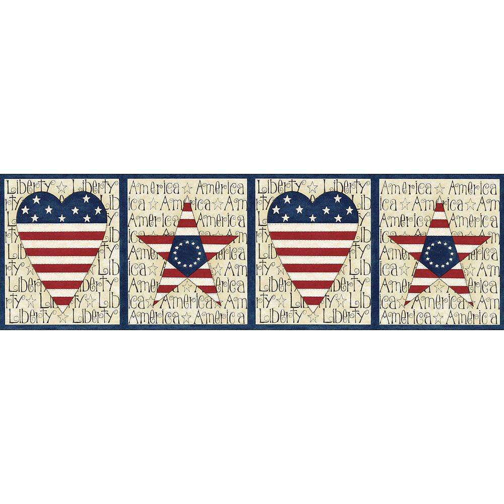 The Wallpaper Company 6.5 In. H Blue Stars and Stripes Border