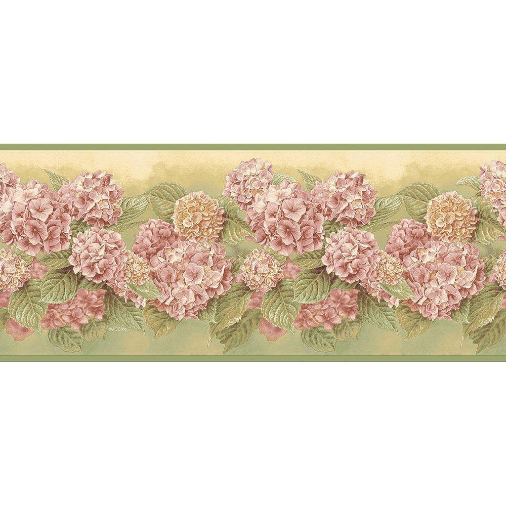 The Wallpaper Company 7.75 In. H Green Mid-Tone Hydrangea Border