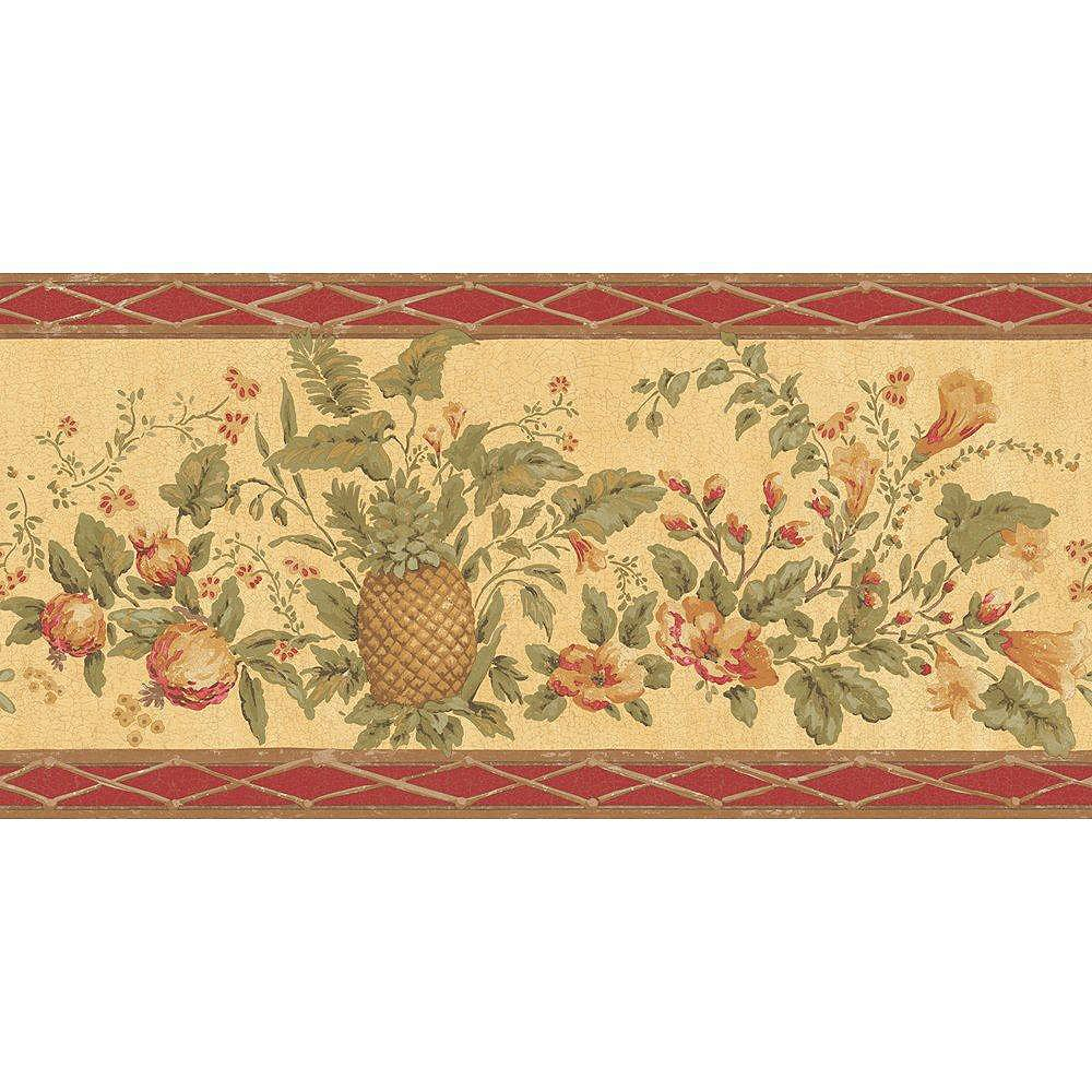 The Wallpaper Company 10.25 In. H Red and Beige Fruit and Floral Border