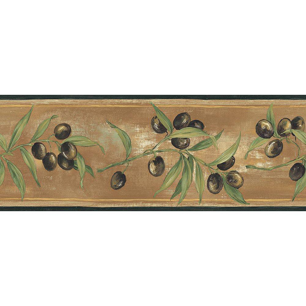 The Wallpaper Company 6.83 In. H Black and Brown Earth Tone Olive Scroll Border