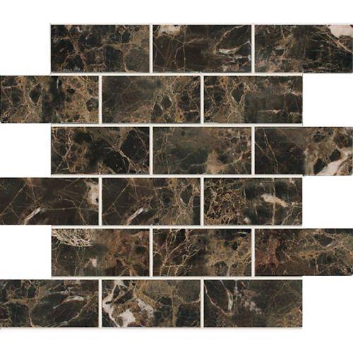 Modamo Marbre foncé Emperador poli - 5,08 cm x 10,16 cm (2 po x 4 po)