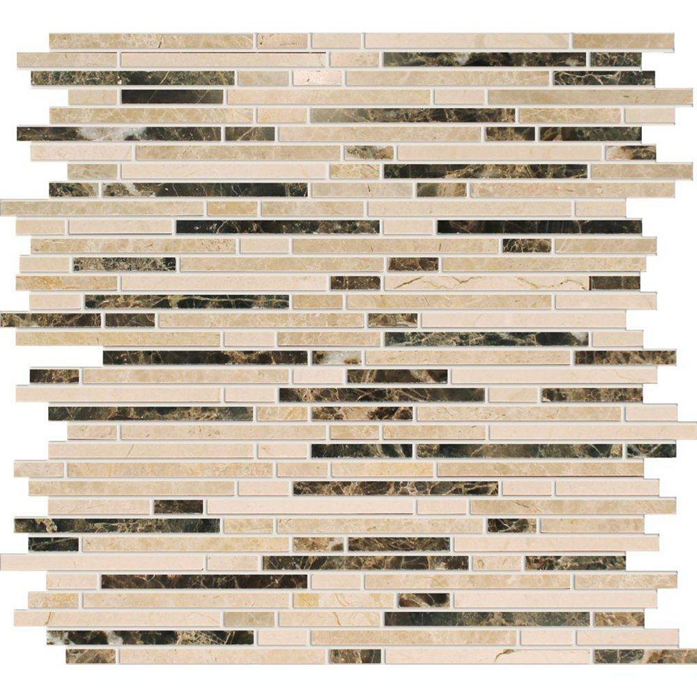 Modamo Polished Emperador Dark/Crema Marfil Marble Blend Mosaic Tile