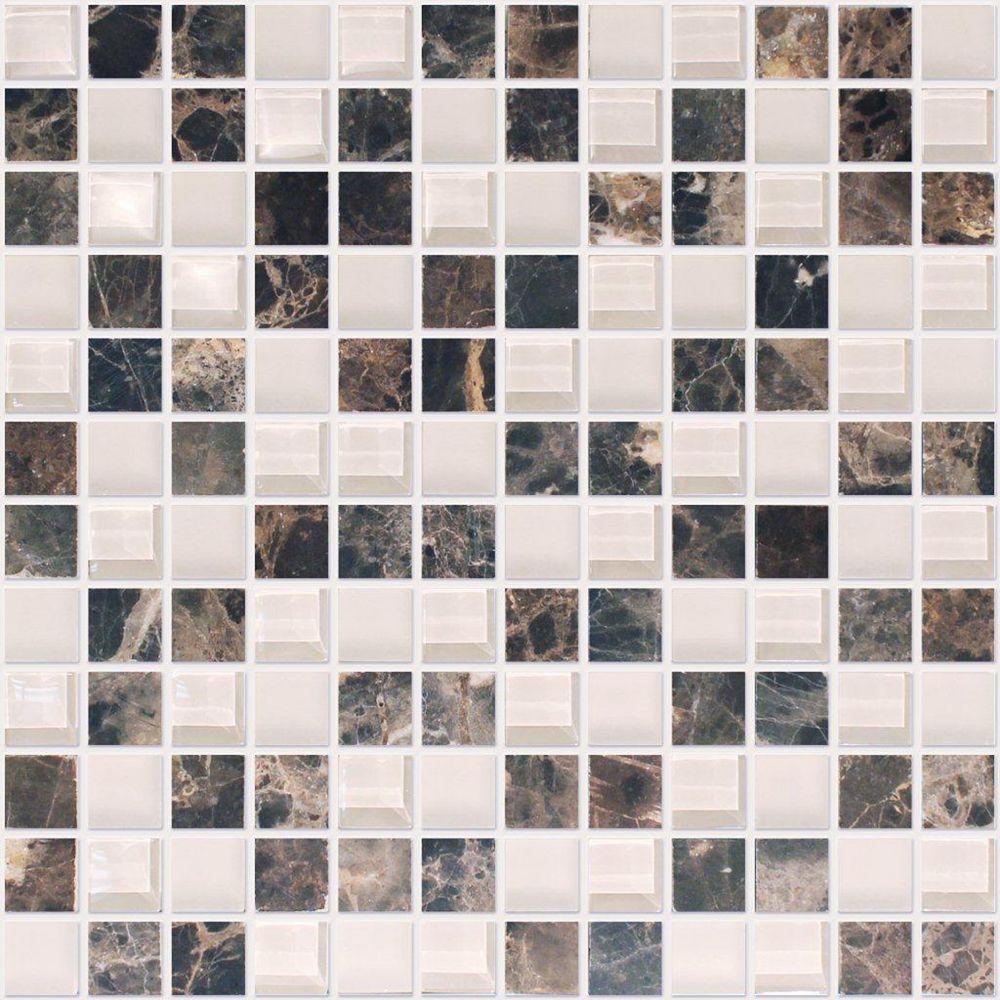 Modamo 1-Inch x 1-Inch Emperador Dark Marble Glass Blend Mosaic Tile