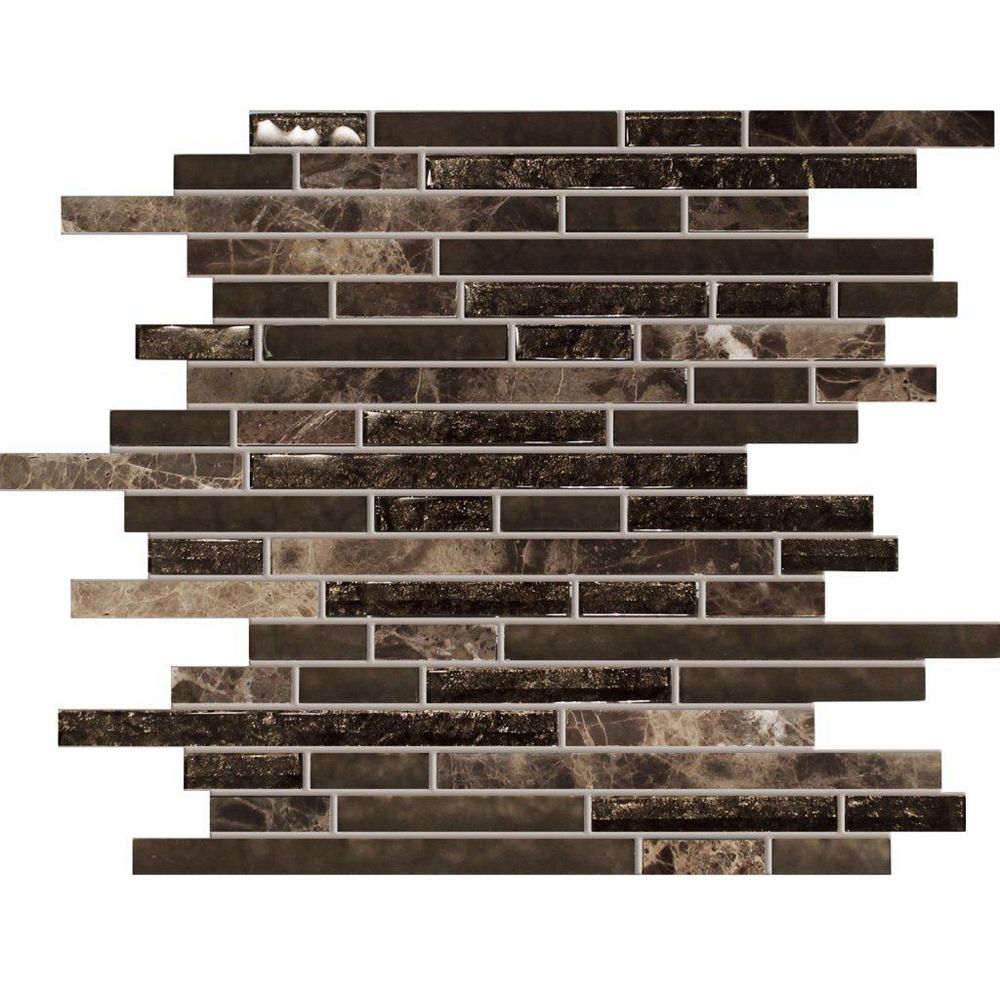 Modamo Waterfall Emperador Dark Marble Glass Linear Blend Mosaic Tile