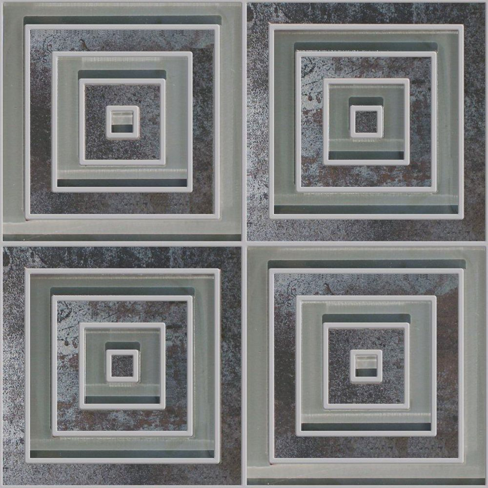 Modamo Mélange Waterjet carré moderne de verre et porcelaine noir métallique - 33,02 cm x 33,02 cm (13 po x 13 po)