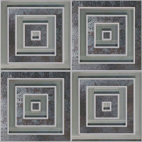 Mélange Waterjet carré moderne de verre et porcelaine noir métallique - 33,02 cm x 33,02 cm (13 po x 13 po)