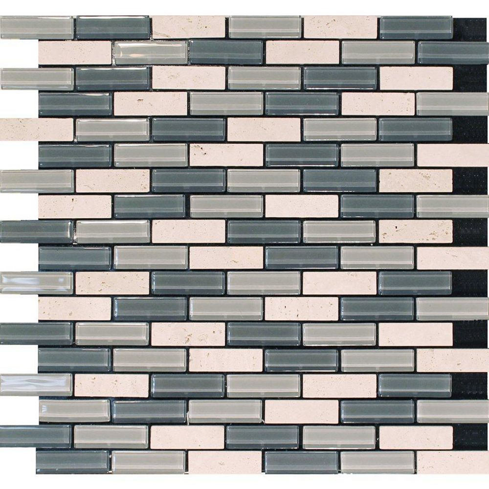 Modamo Self Adhesive 4mm Travertine Stone and Glass Blend Wall Tile in Grey