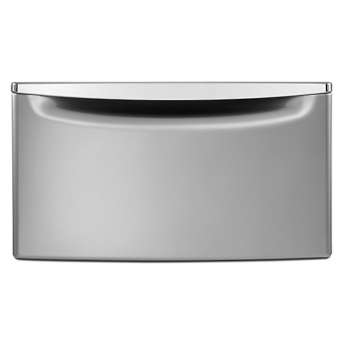 15.5-inch Laundry Pedestal with Storage Drawer in Chrome Shadow
