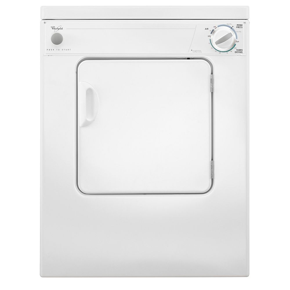 Whirlpool 3.4 cu. ft. Compact Electric Dryer with AccuDry Drying System in White