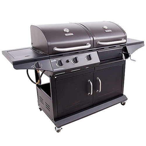 Deluxe Charcoal & Gas Combo BBQ in Black
