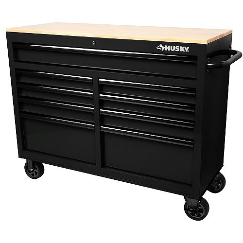 46 inch 9-Drawer Mobile Workbench with Solid Wood Top in All Black