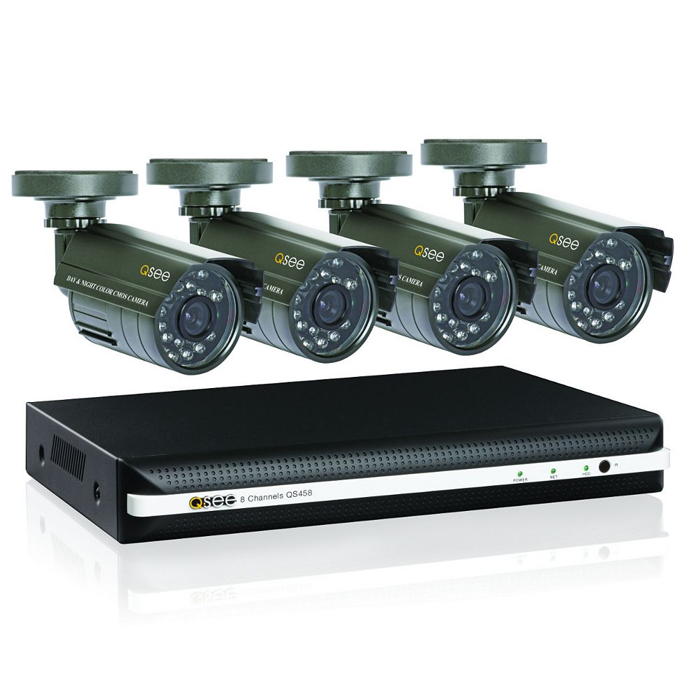 Q-See QS458-411-5 8 Channel DVR CIF/D1 Resolution H.264 with 4 400 TVL Cams