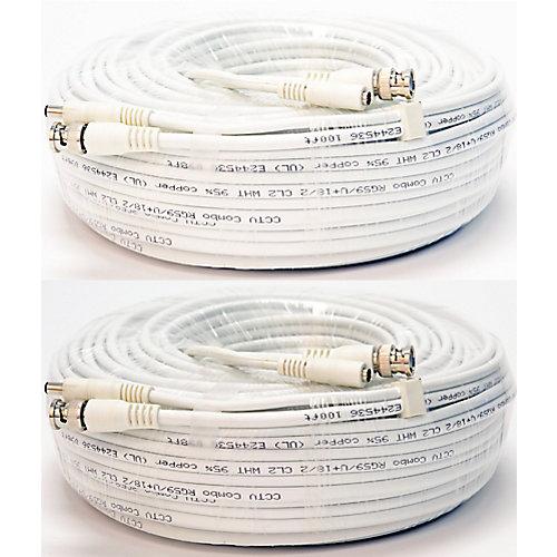 Câble vidéo et dalimentation gainé de 100pi QSVRG100 de Q-See  paquet de 2, avec connecteurs BNC M&F