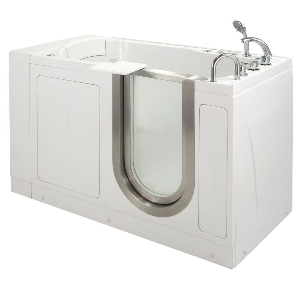 Petite 4 Feet 4-Inch Walk-In Whirlpool Bathtub in White with Swivel Tray