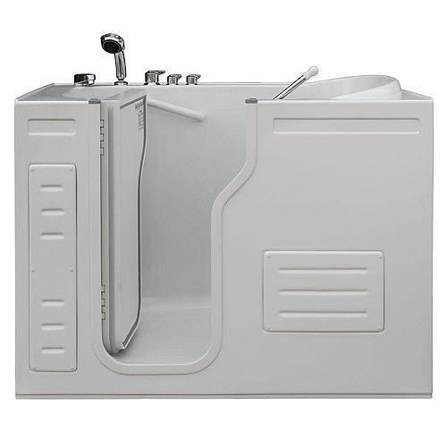 Aurora 51 in. x 29.5 in. Walk-In Soaking Bathtub in White with LH Inward Door, Thermostatic Controls