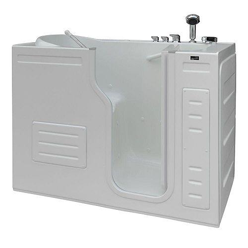 Homeward Bath Aurora 51 in x 29.5 in Walk-In Air Bath Bathtub in White with RHS Inward Door, Thermostatic Controls