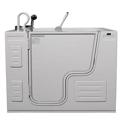 Homeward Bath Hydrolife Deluxe 51.25 in. x 26.75 in. Walk-In Soaking Bathtub in White, LH Outward Door, Faucet Set