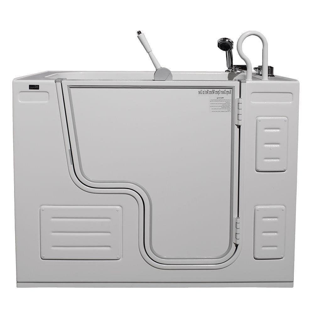 Homeward Bath Hydrolife Deluxe 51.25 in. x 26.75 in. Walk-In Soaking Bathtub in White, RH Outward Door, Faucet Set