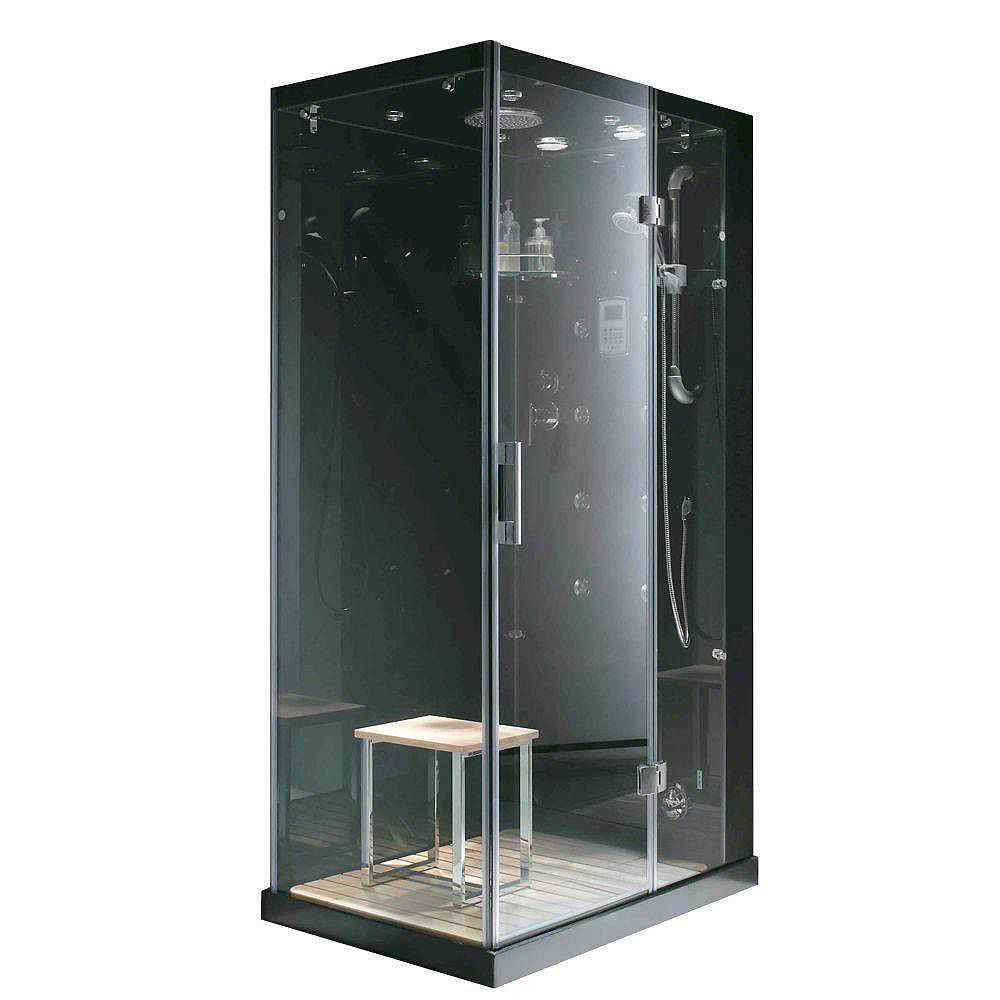 Steam Planet Jupiter Plus 43 in. x 31 in. x 86 in. Steam & Shower Enclosure in Black with Right Hand Side Unit