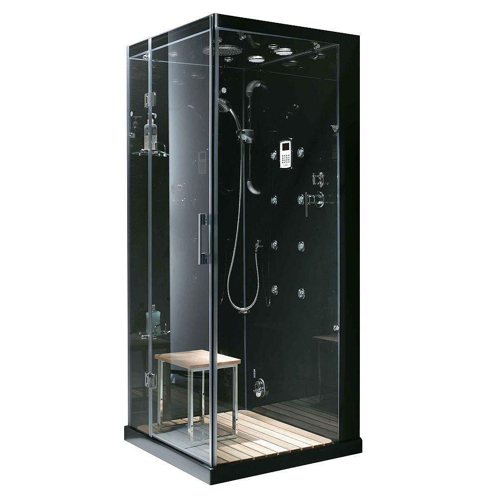 Steam Planet Jupiter 35 in. x 35 in. x 86 in. Steam & Shower Enclosure in Black with Left Hand Side Unit
