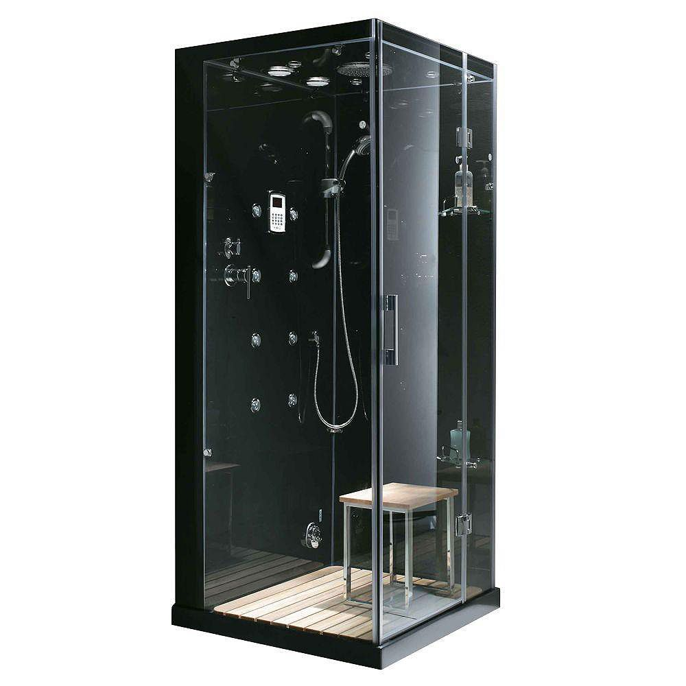 Steam Planet Jupiter 35 in. x 35 in. x 86 in. Steam & Shower Enclosure in Black with Right Hand Side Unit