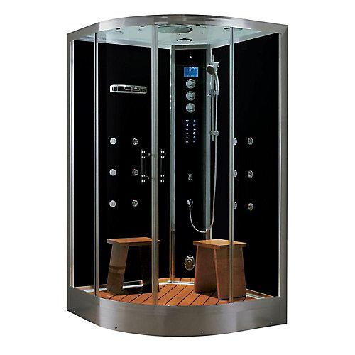 La douche à vapeur luxeuse en espace clos au coin, avec des multi-jets de corps, une radio, et l'aromathérapie.