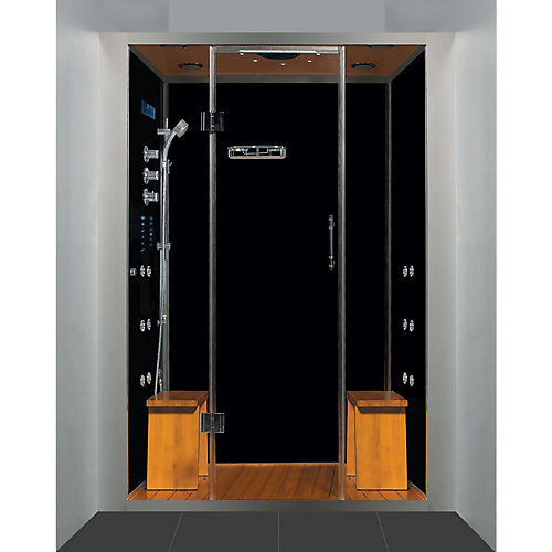 Luxury Steam & Shower Alcove Enclosure With Multi Body Massage Water Jets & Black Acrylic Base