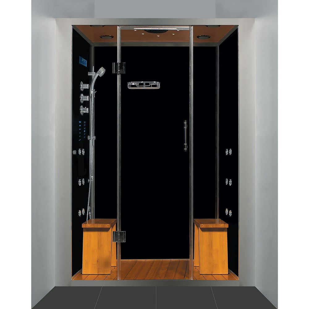 Steam Planet Luxury Steam & Shower Alcove Enclosure With Multi Body Massage Water Jets & Black Acrylic Base