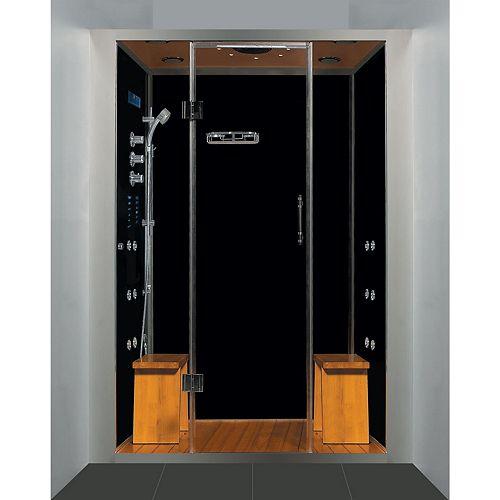 La douche à vapeur luxeuse en espace clos d'alcôve, avec des multi-jets de corps, et une base en acrylique noire.