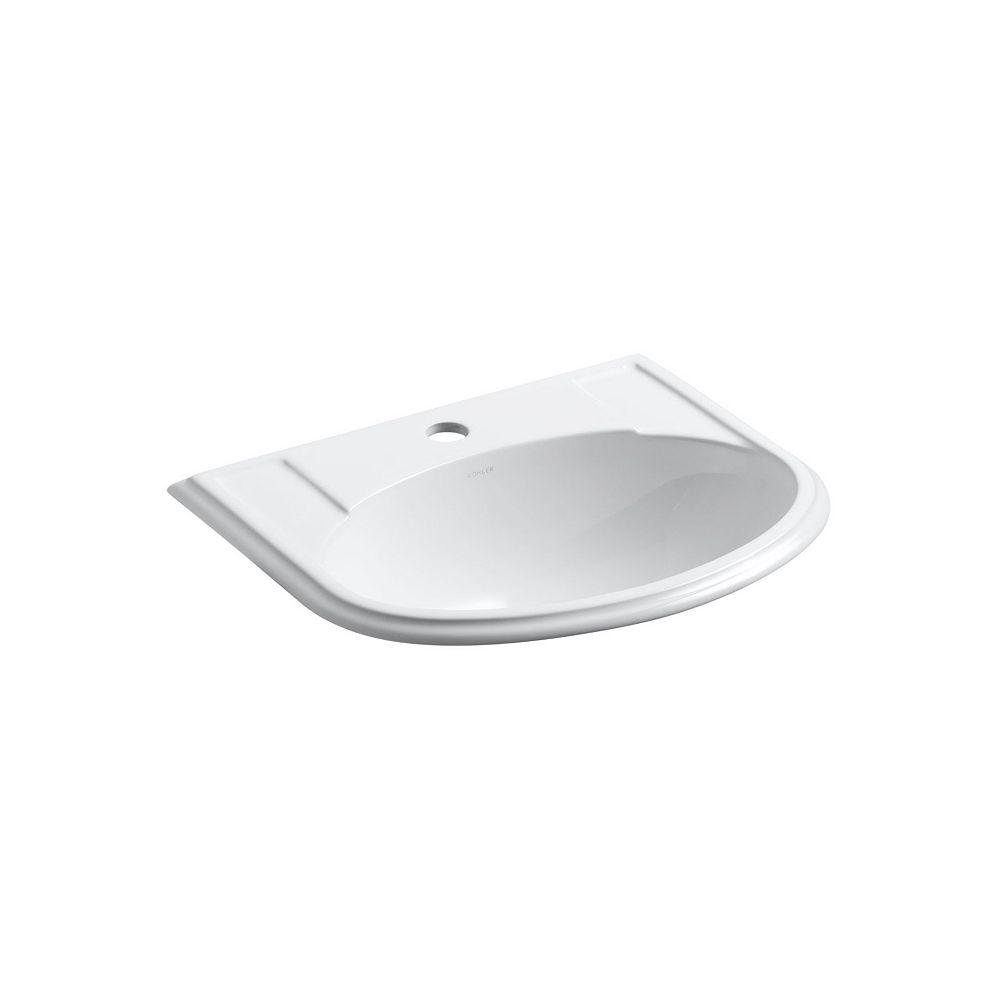 KOHLER Devonshire(R) drop-in bathroom sink with single faucet hole
