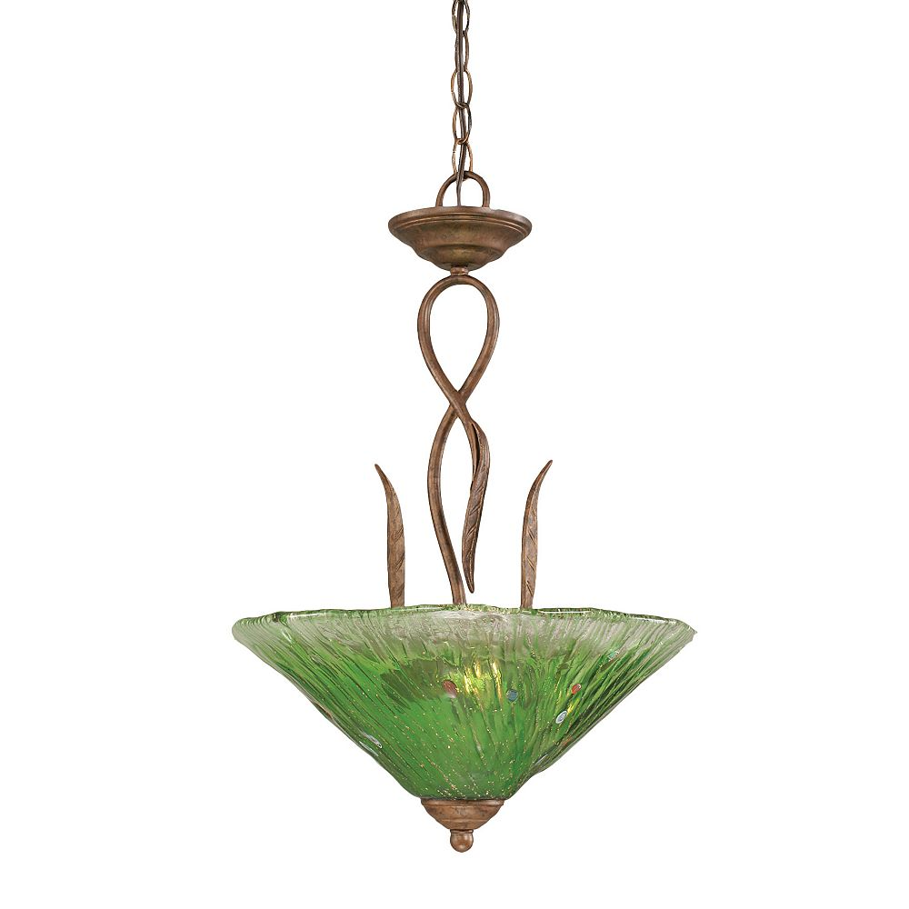 Filament Design Concord 3-Light Ceiling Bronze Pendant with a Green Crystal Glass