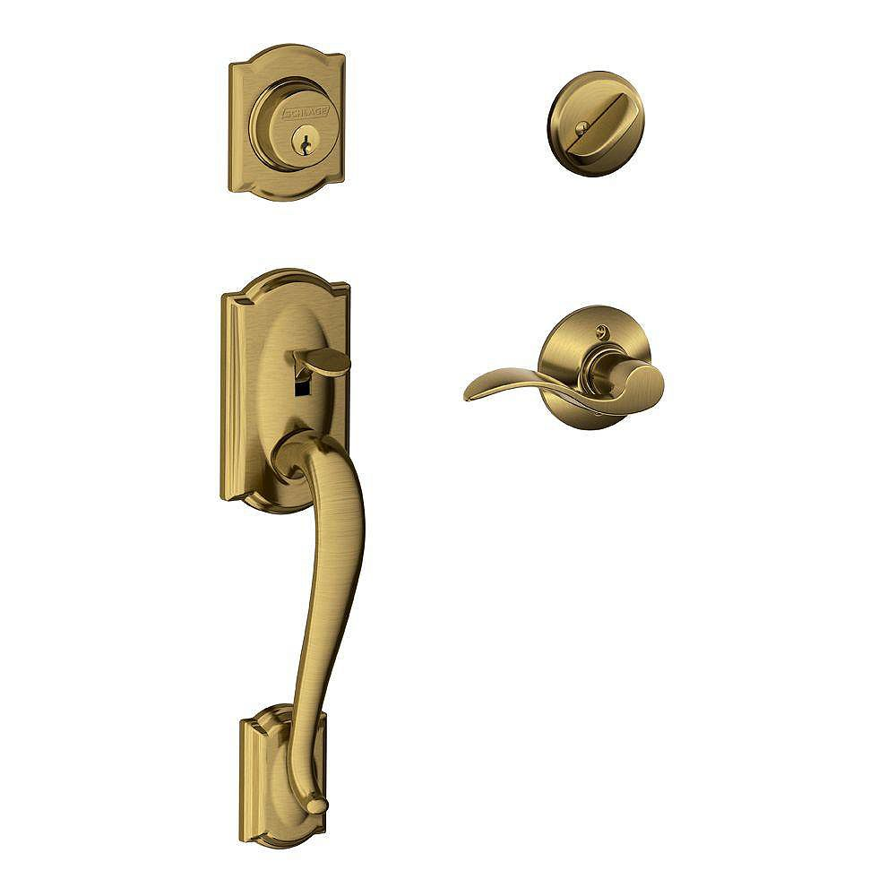 Schlage Accent Antique Brass Single Cylinder Handleset Lever with Camelot Trim