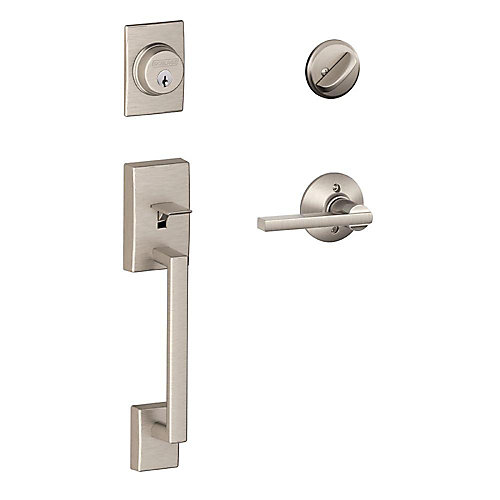 Century Satin Nickel Single Cylinder Entry Handleset and Latitude Lever