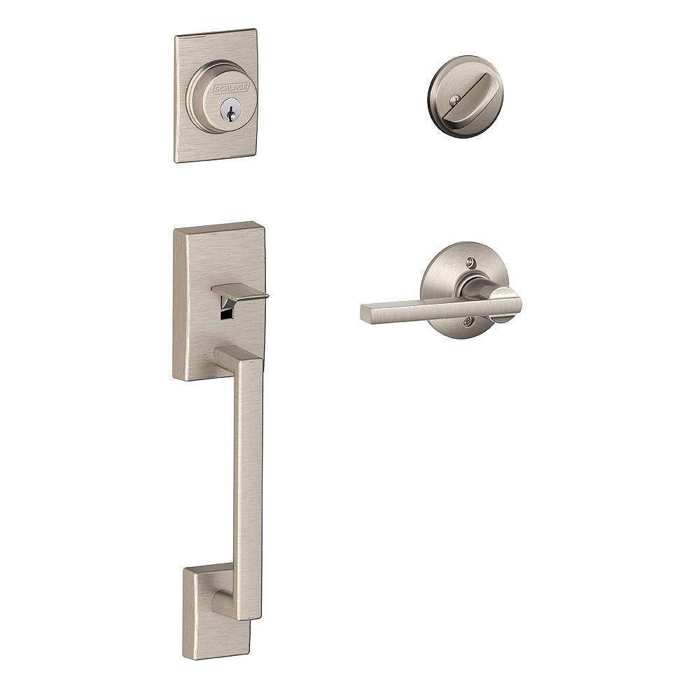 Schlage Latitude Satin Nickel Single Cylinder Entry Handleset and Lever with Century Trim