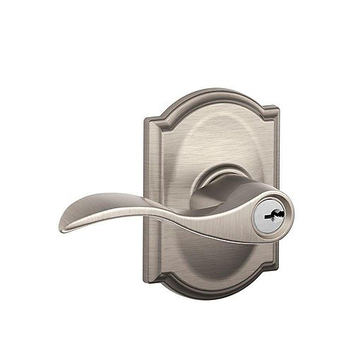 Accent Satin Nickel Keyed Entry Lock Lever with Camelot Trim