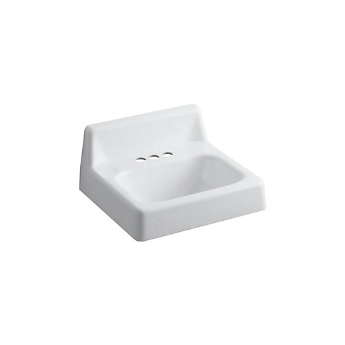 Hudson(TM) 19 inch x 17 inch wall-mount bathroom sink with 4 inch centerset faucet holes