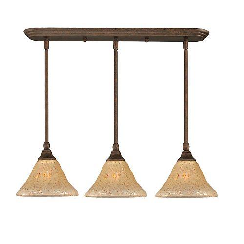 Filament Design Concord 3 lumières plafond Bronze Pendeloque incandescence par un verre ambre