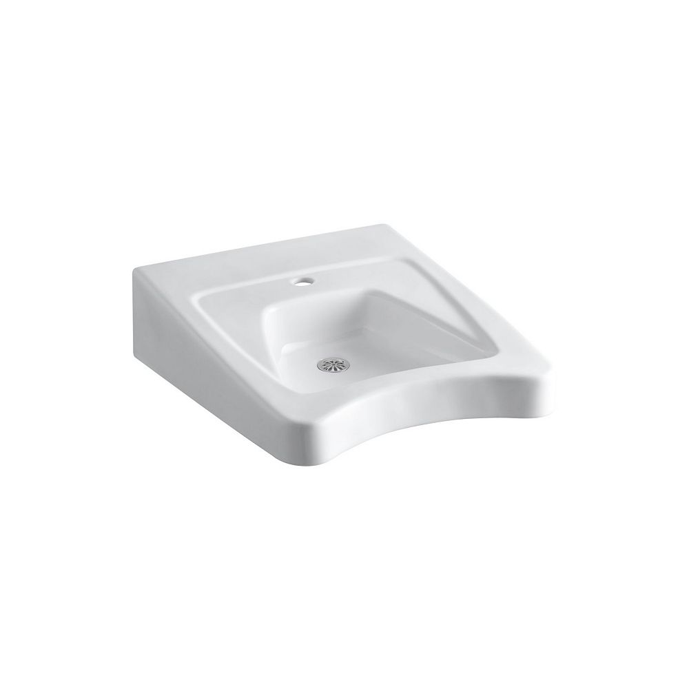 KOHLER Morningside(TM) 20 inch x 27 inch wall-mount/concealed arm carrier wheelchair bathroom sink with single faucet hole