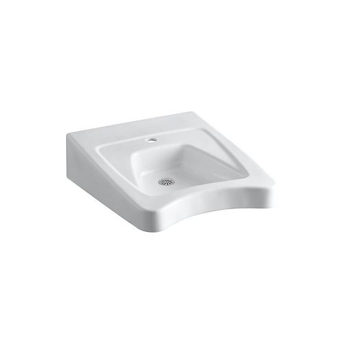 Morningside(TM) 20 inch x 27 inch wall-mount/concealed arm carrier wheelchair bathroom sink with single faucet hole