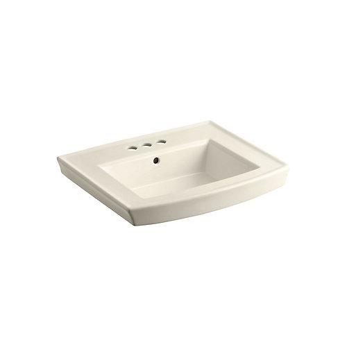 Lavabo de salle de bain sur colonne Archer avec trous pour robinet traditionnel de 4 po