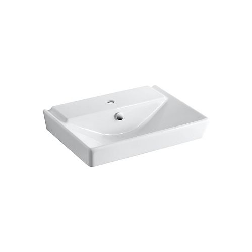 Rêve(R) 23 inch pedestal bathroom sink basin with single faucet hole