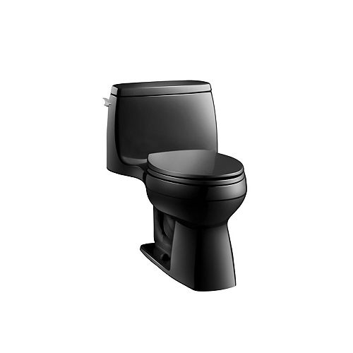 Santa Rosa Comfort Height 1-Piece 1.28 GPF Single Flush Compact Elongated Toilet in Black